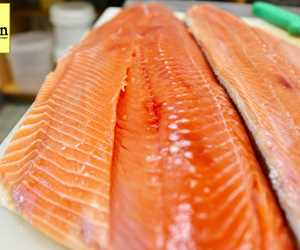 Beautiful salmon is an everyday item at fin, either wild (in season) or farmed.